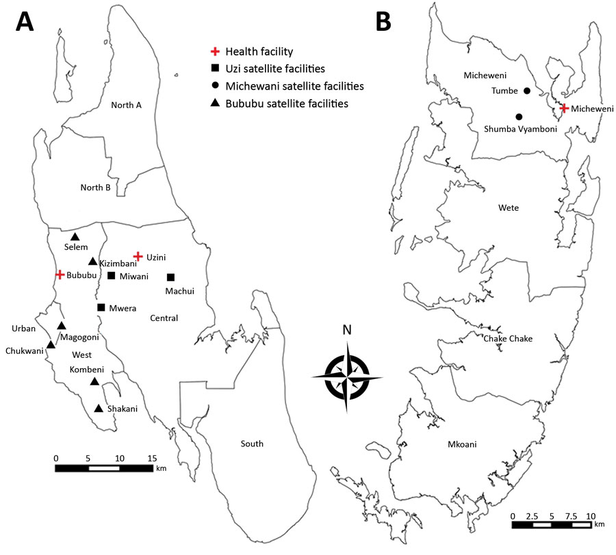 Locations of 14 study health centers, including 11 peripheral satellite health units and 3 referral health facilities for which increased sensitivity of Plasmodium falciparum to artesunate/amodiaquine despite 14 years as first-line malaria treatment was tested, Zanzibar. A) Unguja Island; B) Pemba Island.