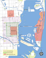 Thumbnail of Locations of declared zones where clusters of locally acquired vectorborne Zika virus transmission were identified and aerial mosquito control activities conducted, Miami-Dade County, Florida, USA, 2016.