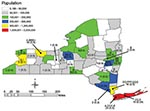 Thumbnail of Dispersion of listeriosis cases, New York State (excluding New York City), November 1996–June 2000. Comparison of New York State population base overlaid with temporal listeriosis clusters from Table 1 (indicated by letter; defined by ribotype and pulsed-field gel electrophoresis type). Cases per county and annualized rate per 100,000 (in parentheses) are shown. New York City listeriosis data are not included in this study.