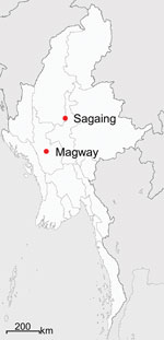 Thumbnail of Locations in Sagaing and Magway Provinces in Myanmar, where suspected scrub typhus patients' serum samples were collected for study of genotypic heterogeneity of Orientia tsutsugamushi.