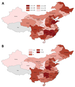 Thumbnail of Doubling time estimates for coronavirus disease in mainland China, by province, January 20–February 9, 2020. A) Harmonic mean of the arithmetic means of doubling time estimates; B) number of times the cumulative incidence doubled during the study period.