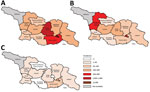 Incidence of measles (reported cases/1 million population), by region, Georgia, 2013 (A), 2014 (B), and 2015 (C). Rates for Abkhazia, currently outside government control, could not be calculated because of incomplete surveillance and lack of reliable population data.