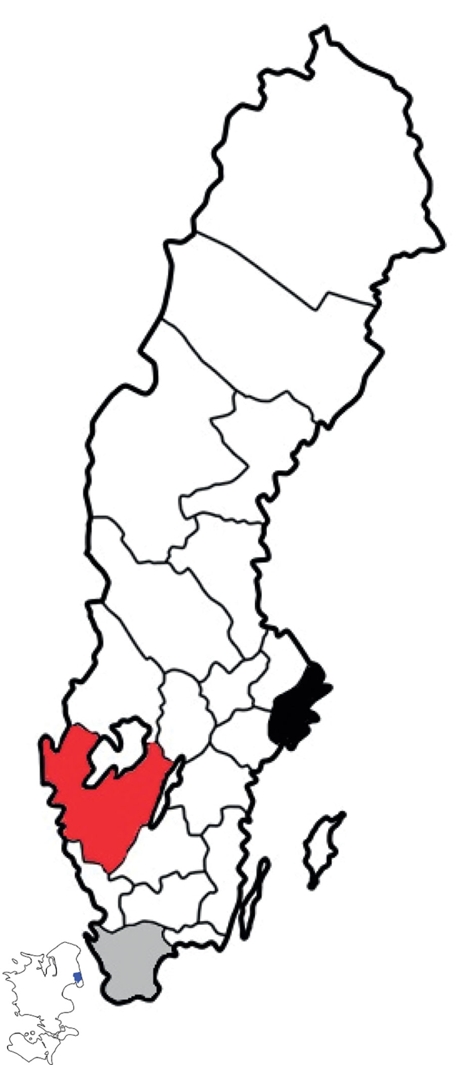 Three regions analyzed in study of nowcasting for influenza epidemics in local settings, Sweden. Black indicates Stockholm County, red West Gothia County, gray Scania County. Included in the map is the island Zeeland (Sjaelland) (which is neighboring to Scania County). Blue indicates the city of Copenhagen (population 2 million) (on the island in the left lower corner of the figure).