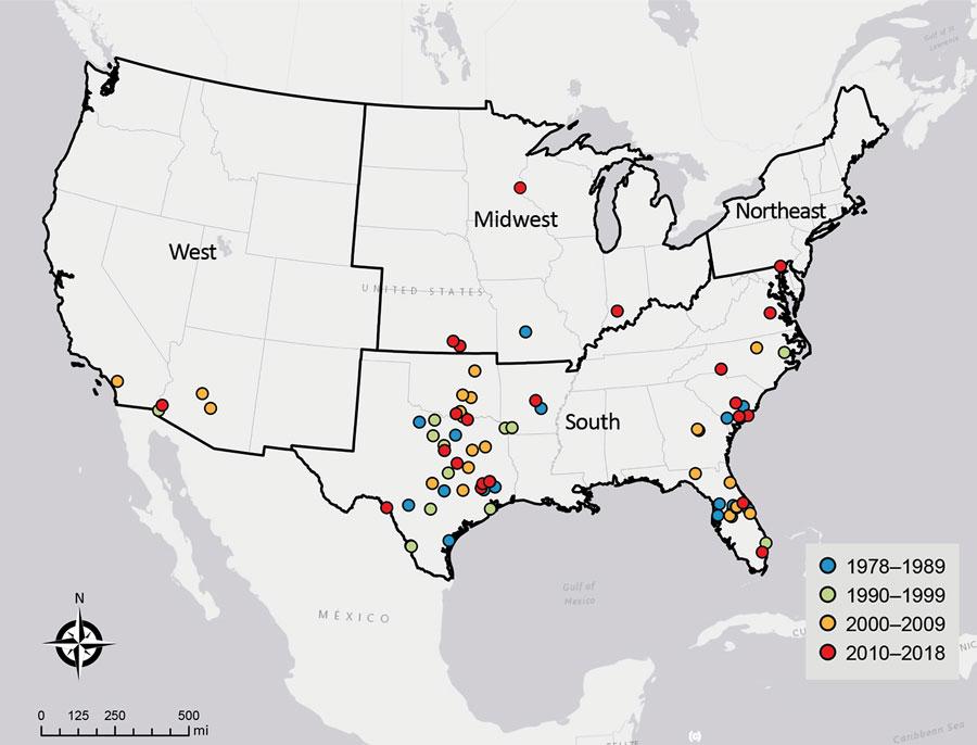 1978年から2018年にかけて、米国の原発性アメーバ性髄膜脳炎の症例に関連するレクリエーション用水への曝露の場所。