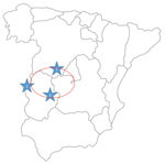 Regions where human infections with Crimean-Congo hemorrhagic fever virus (CCHFV) or infected ticks have been found in Spain. 1, CCHFV hyperendemic focus; 2, human infected by a tick bite in 2016 (Ávila); 3, human infected by a tick bite in 2018 (Badajoz). Red circle indicates area where infected ticks were detected during a surveillance study in 2016.