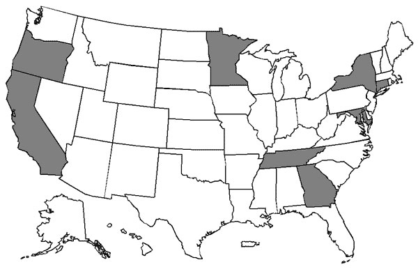 States included in Active Bacterial Core surveillance in 1999 (shaded). Surveillance for all pathogens was conducted statewide in Connecticut but in selected counties only for some or all pathogens in the other states.