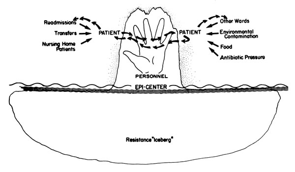 The dynamics of nosocomial resistance. Resistance iceberg floating in an epicenter (2).