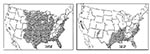 Thumbnail of Areas of the United States where malaria was thought to be endemic in 1882 and 1912.