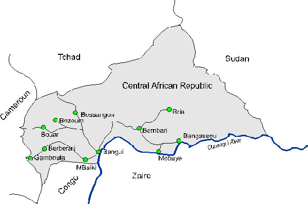 Map of the Central African Republic with location of sentinel sites.