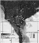 Thumbnail of Mean diurnal temperature differences of southern Nile delta, August 16, 1990, with study village sites superimposed according to Bancroftian filariasis prevalence category.