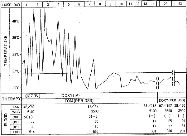 Fever and clinical course, 62-year-old woman.