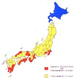 Thumbnail of Geographic distributions of JSF and Tsutsugamushi disease in Japan.
