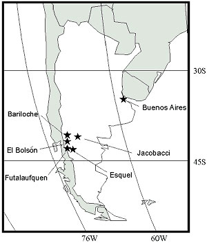 Towns involved in the 1996 HPS outbreak in southern Argentina.