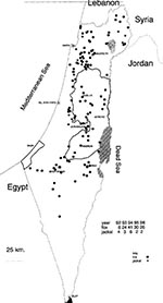 Thumbnail of Rabies in fauna in Israel, 1992-1996.