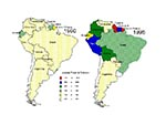 Thumbnail of Distribution of malaria in South America (2-5). Color codes correspond to annual parasite indexes as reported by the Pan American Health Organization.