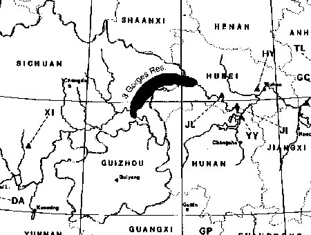 Projected size and location of Three Gorges Reservoir in Sichuan and Hubei Provinces resulting from the Three Gorges Super Dam construction.