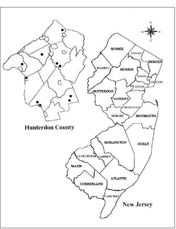 Map of New Jersey showing Hunterdon County. Black dots indicate tick collection sites.
