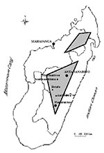 Thumbnail of Plague foci in Madagascar. The plague-endemic zones are in the gray areas and in the port of Mahajanga.