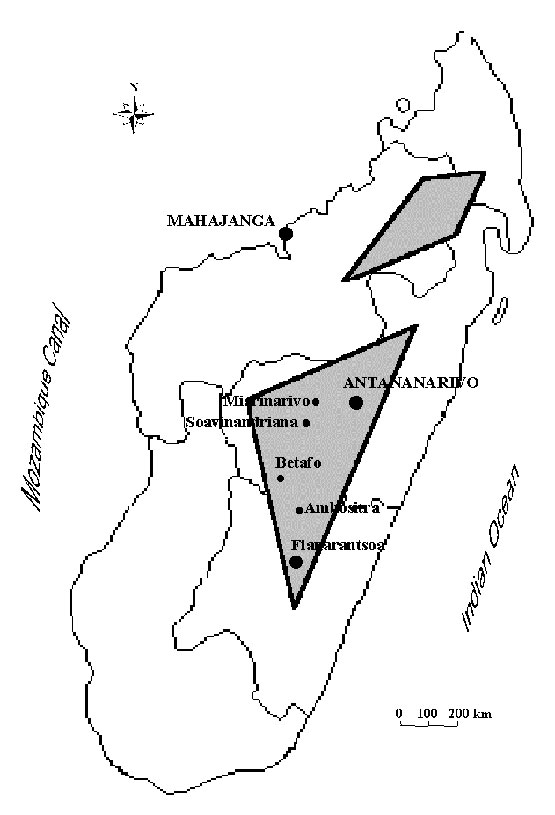Plague foci in Madagascar. The plague-endemic zones are in the gray areas and in the port of Mahajanga.