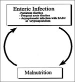 Thumbnail of Relationship between diarrhea and malnutrition (31, 60–62).