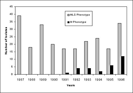 Number of erythromycin-resistant blood and cerebro- spinal fluid isolates of pneumococci. DNA was extracted from pneumococcal isolates by using a lysis solution consisting of 0.1% sodium deoxycholate as described in (11), except that we used plate rather than broth cultures. 