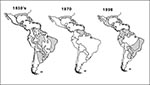 Thumbnail of Geographic distribution of Aedes aegypti in the Americas, 1930s, 1970, and 1998.