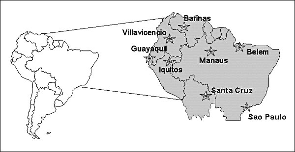 Major urban centers of South America recently infested with Aedes aegypti and at high risk for imported yellow fever.