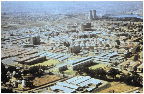 An aerial view of Chris Hani Baragwanath Hospital, with 3,000 inpatients the largest hospital in the world—Soweto, South Africa. Multiple-drug resistant pneumococci were found here in 1978.