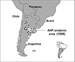Thumbnail of Distribution of the corn mouse, Calomys musculinus (dots; 20), and disease-endemic area of Argentine hemorrhagic fever (AHF) (shaded).