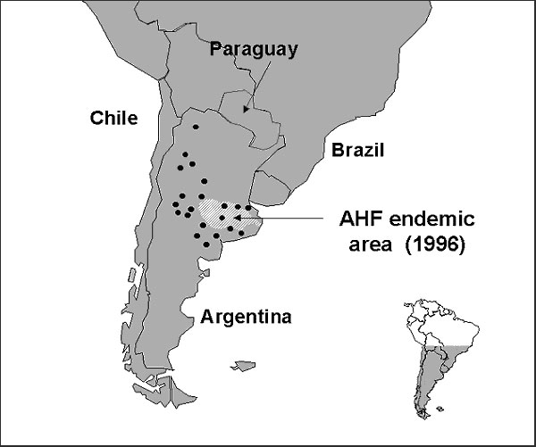 Distribution of the corn mouse, Calomys musculinus (dots; 20), and disease-endemic area of Argentine hemorrhagic fever (AHF) (shaded).