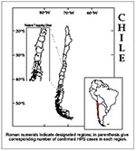 Thumbnail of Geographic distribution of hantavirus pulmonary syndrome cases, Chile, 1995-1998.