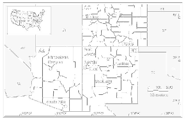 Geographic locations of nine sites where mark-release-recapture webs are being operated to study rodent reservoirs of hantaviruses in a three- state area of the southwestern United States. PCMS=Pinyon Canyon Maneuver Site (U.S. Army).