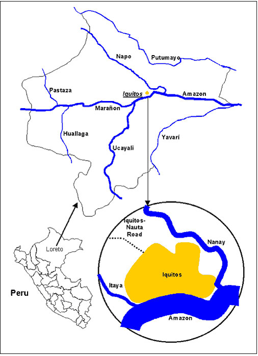 The department of Loreto and the city of Iquitos in Peru.