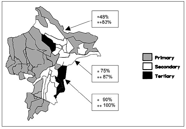 Initial Plasmodium falciparum malaria treatment schemes in Loreto by district. Treatment efficiency* (cases cured/cohort number x 100) and efficacy** (cases cured/[cases cured + resistant cases] x 100) shown for each treatment scheme region. Treatment schemes: Primary-chloroquine; secondary-pyrimethamine-sulfadoxine; tertiary-quinine.