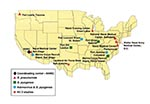 Thumbnail of Department of Defense medical treatment facilities and recruit training camps participating in surveillance for emerging respiratory disease pathogens: invasive Streptococcus pneumoniae (typing and antibiotic sensitivity studies); Streptococcus pyogenes (typing and antibiotic sensitivity studies); and adenovirus (typing studies).