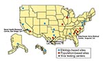 Thumbnail of Military sites in the United States participating in Department of Defense influenza surveillance. The focus of surveillance at etiology-based sites is to determine the viral causes of influenzalike illnesses; the focus of population-based sites is to closely monitor for influenzalike illness epidemics.