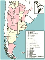 Thumbnail of Sites of rodent trapping and human cases in three hantavirus pulmonary syndrome-endemic zones in Argentina.