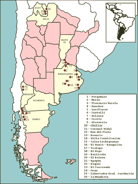 Sites of rodent trapping and human cases in three hantavirus pulmonary syndrome-endemic zones in Argentina.
