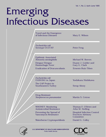 Image of the  cover used on the front of the Emerging Infectious Diseases journal for volume 1 issue 2.