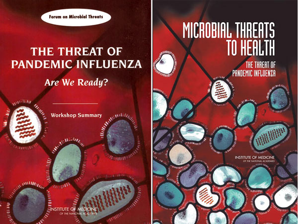 A different perspective of this stained glass window has also appeared on the cover of the book Microbial Threats to Health: Emergence, Detection, and Response (2003), by the Committee on Emerging Microbial Threats to Health in the 21st Century, Board on Global Health, Institute of Medicine, National Academies Press; another appears on the cover of a series of workshop summaries also published by the Institute of Medicine, National Academies Press.
