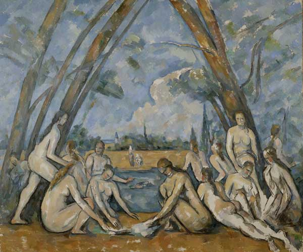 Paul Cézanne (1839–1906). The Larger Bathers (1906). Oil on canvas (210.5 cm × 250.8 cm). Purchased with the W P Wistach Fund, 1937. Philadelphia Museum of Art, Philadelphia, Pennsylvania, USA.