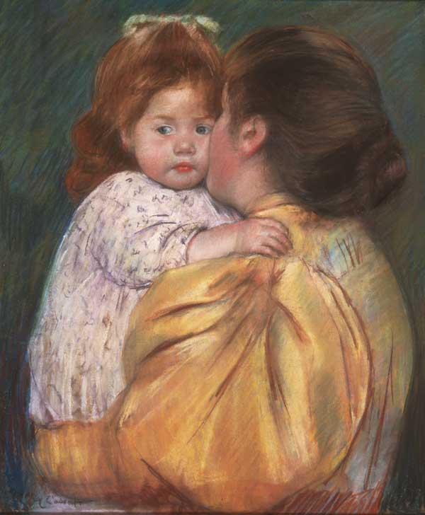 Mary Cassatt (1844–1926). Mother and Child (Maternal Kiss) (1897). Pastel on paper (55.9 cm × 45.7 cm). Bequest of Anne Hinchman, 1952. Philadelphia Museum of Art, Philadelphia, Pennsylvania, USA.
