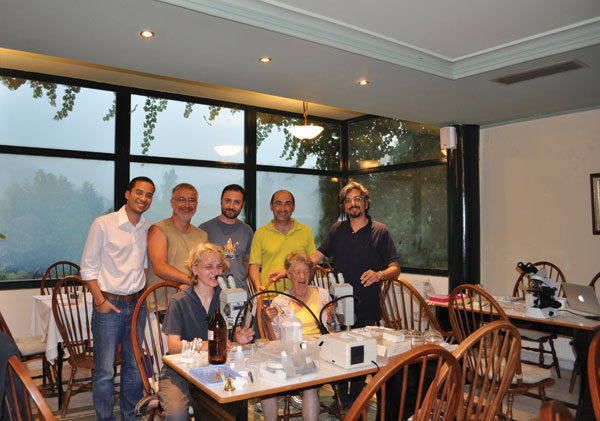 Expedition headquarters in large dining room of a hotel near Xanthi, Greece. Expedition team members (left–right): seated, Aleksandra Ignjatović Ćupina and Odile Bain; standing, Filipe Dantas-Torres, Dušan Petrić, Elias Papadopoulos, Socrates Ptochos, and Domenico Otranto.