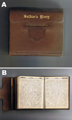 Thumbnail of A) Front cover and B) entry of a diary from a soldier on board His Majesty's New Zealand Transport Tahiti during a period of pandemic influenza, July 10, 1918, through January 31, 1919.