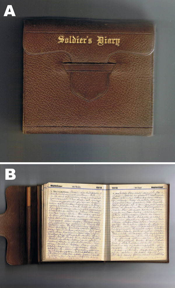 A) Front cover and B) entry of a diary from a soldier on board His Majesty's New Zealand Transport Tahiti during a period of pandemic influenza, July 10, 1918, through January 31, 1919.