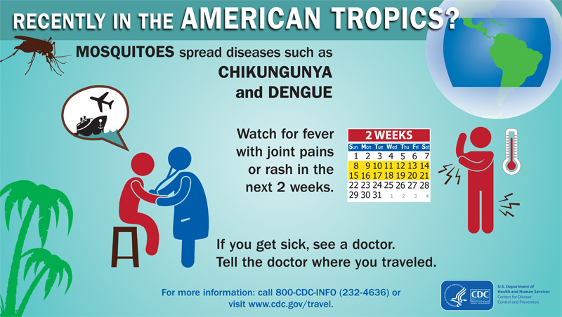Recently in Caribbean (chikungunya, dengue)
