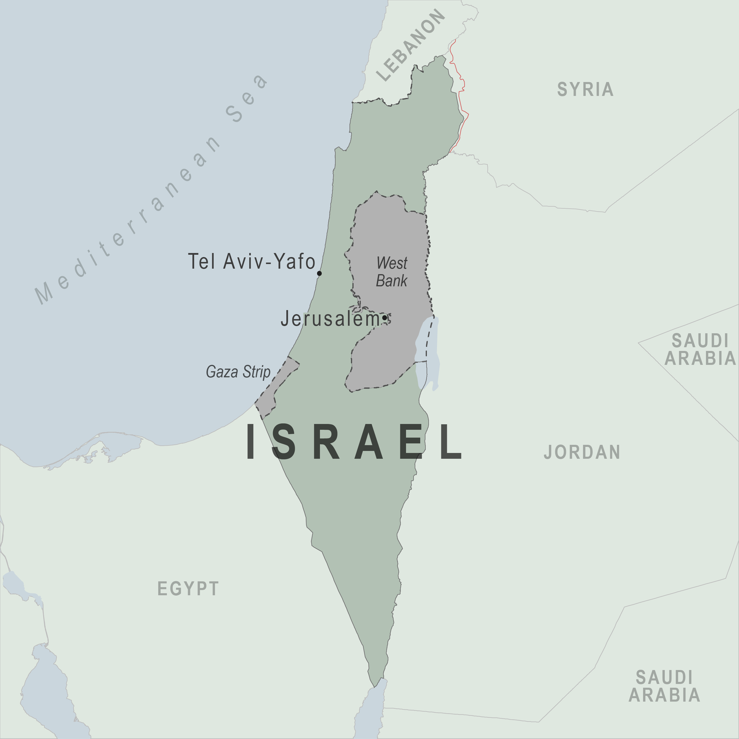 Map - Israel, including the West Bank and Gaza