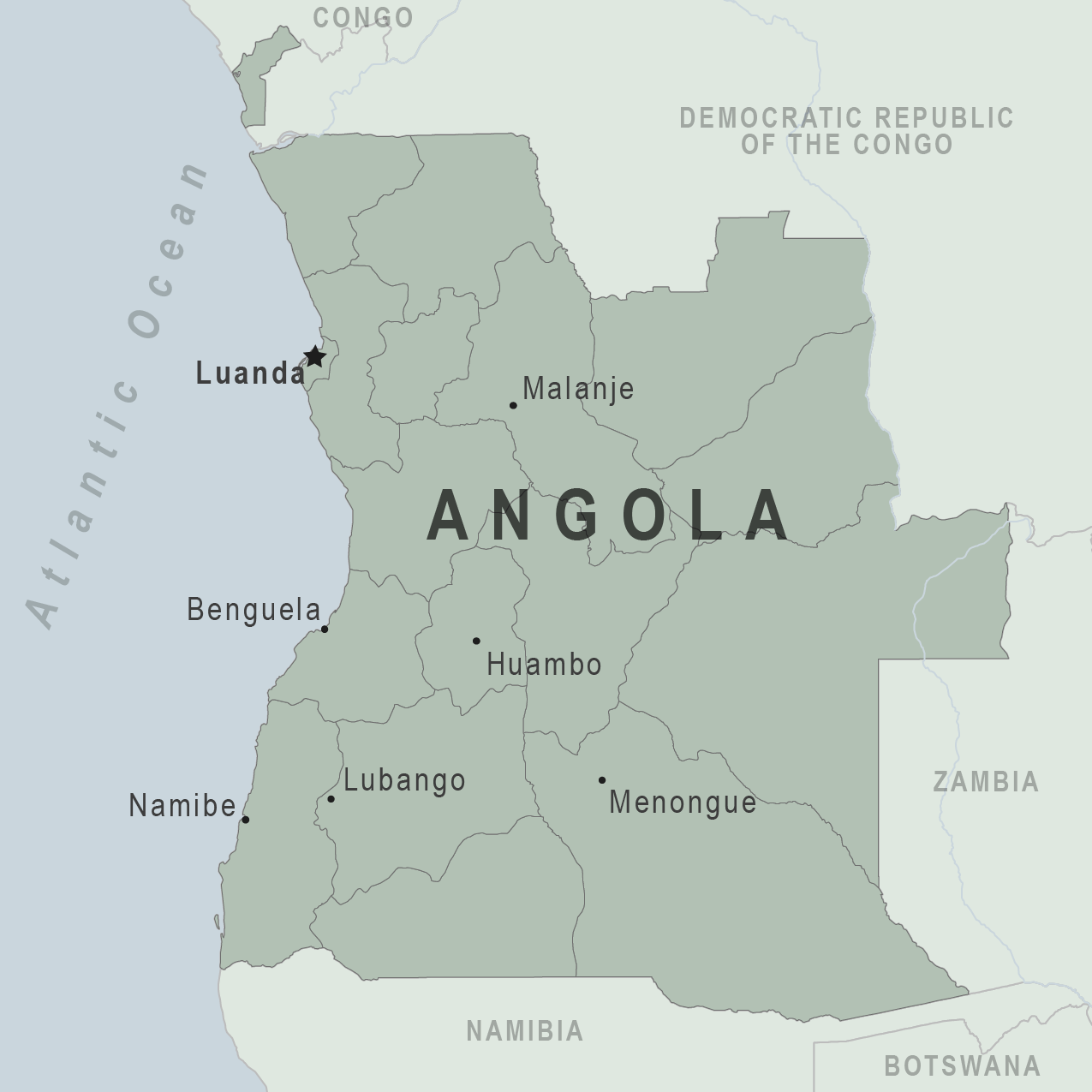 Public transport map of Angola
