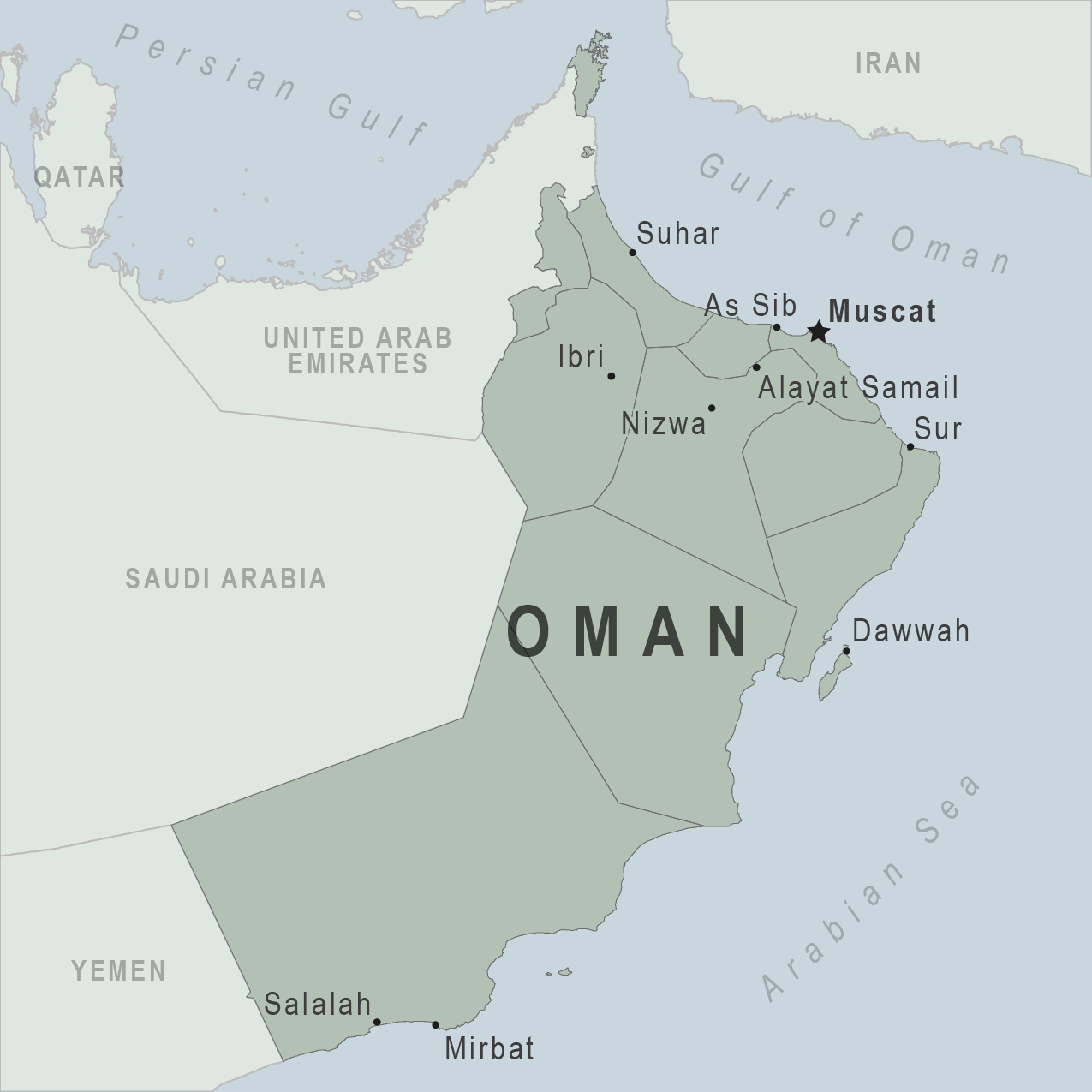 it shares borders with yemen saudi arabia and the united arab emirates uae oman also has several enclaves and exclaves that border