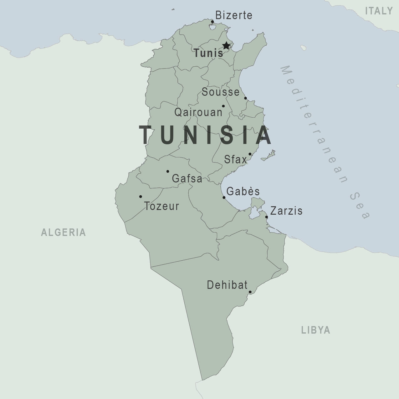 Health Information For Travelers To Tunisia Traveler View - Map of tunisia africa